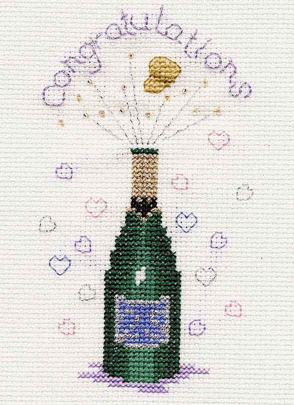 Champagne Cross Stitch Card Kit by Derwentwater Designs