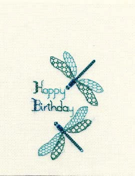 Dragonfly Cross Stitch Card Kit by Derwentwater Designs