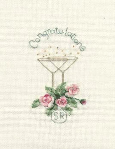 Roses and Champagne Cross Stitch Card Kit by Derwentwater Designs