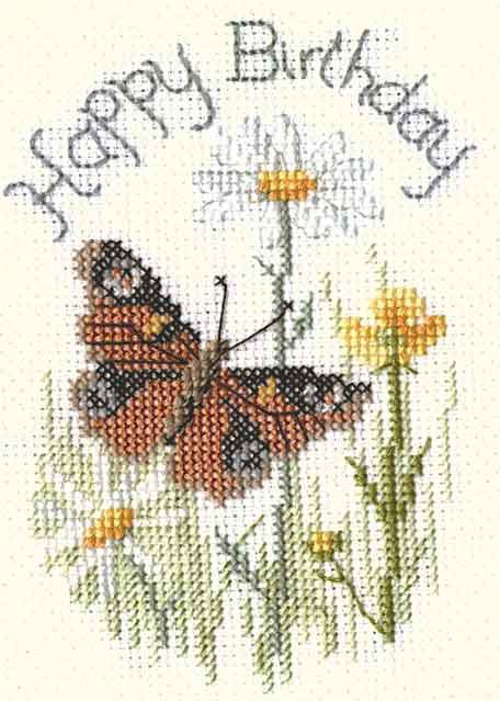 Butterfly and Daisies Cross Stitch Card Kit by Derwentwater Designs