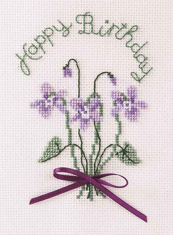 Violets Cross Stitch Card Kit by Derwentwater Designs