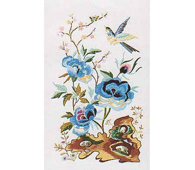 Oriental Blue Peony Embroidery Kit by Design Perfection