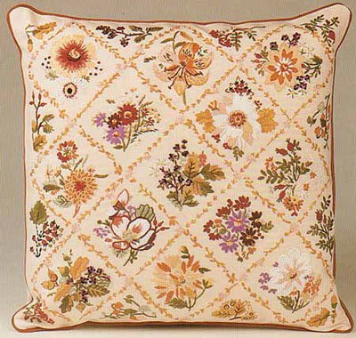 Autumn Trellis Embroidery Cushion Front Kit by Design Perfection