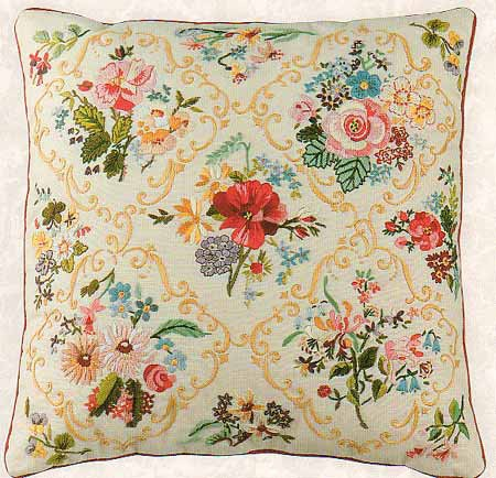 Victorian Flower Embroidery Cushion Front Kit by Design Perfection