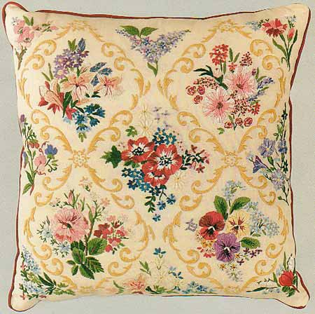 Victorian Garden Embroidery Cushion Front Kit by Design Perfection