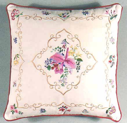 Orchid Embroidery Cushion Front Kit by Design Perfection