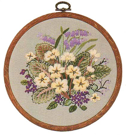Primroses Embroidery Kit by Design Perfection