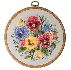 Pansies Embroidery Kit by Design Perfection