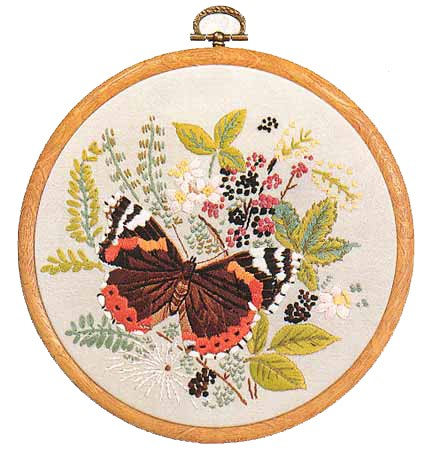 Red Admiral Butterfly Embroidery Kit by Design Perfection