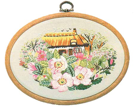 Rose Cottage Embroidery Kit by Design Perfection