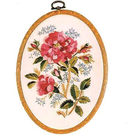 Old Moss Rose Embroidery Kit by Design Perfection
