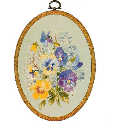 Pansies Oval Embroidery Kit by Design Perfection