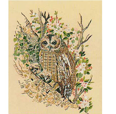 Tawny Owls Embroidery Kit by Design Perfection