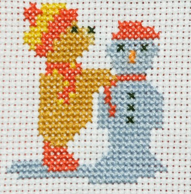 Building a Snowman Cross Stitch Christmas Card Kit by September Cottage Crafts