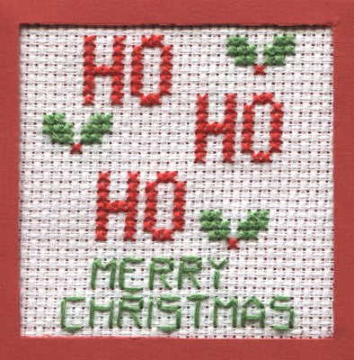 Ho Ho Ho Cross Stitch Christmas Card Kit by September Cottage Crafts