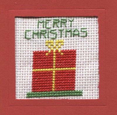 Christmas Present Cross Stitch Christmas Card Kit by Rainy Day Designs