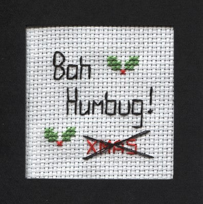 Bah Humbug Cross Stitch Christmas Card Kit by Rainy Day Designs