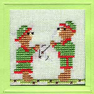 Playing Conkers Cross Stitch Card Kit by September Cottage Crafts