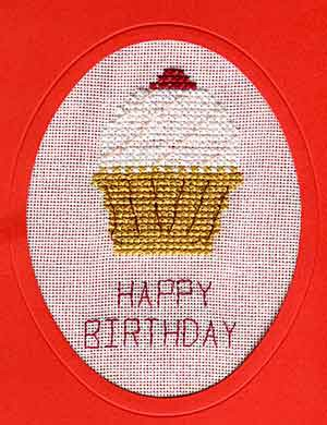 Cupcake Cross Stitch Card Kit by September Cottage Crafts