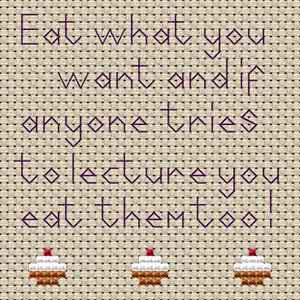 Eat What You Want Cross Stitch Coaster Kit by Rainy Day Designs