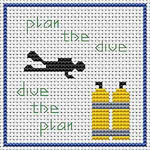 Plan the Dive Cross Stitch Coaster Kit by Rainy Day Designs