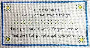 Regret Nothing Sampler Cross Stitch Kit by September Cottage Crafts