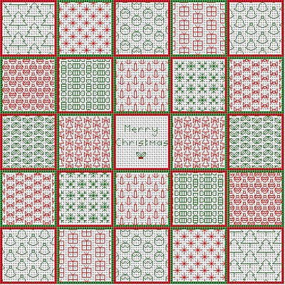 Christmas Cushion Front Blackwork Kit by September Cottage Crafts