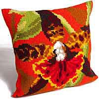 Tiger Orchid Printed Cross Stitch Cushion Kit by Collection D'Art