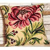 Wild Rose Cross Stitch Cushion Kit by Collection D'Art