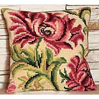 Wild Rose Printed Cross Stitch Cushion Kit by Collection D'Art.