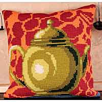 Bronze Teapot Printed Cross Stitch Cushion Kit by Collection D'Art