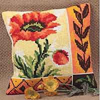 New Poppy Cross Stitch Cushion Kit by Collection D'Art