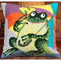 Mr Croak Printed Cross Stitch Cushion Kit by Collection D'Art..