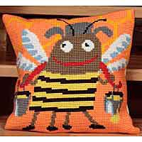 Mr Buzz Printed Cross Stitch Cushion Kit by Collection D'Art..