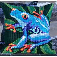 Heavenly Frog Printed Cross Stitch Cushion Kit by Collection D'Art..