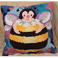 Honey Bee Printed Cross Stitch Cushion Kit by Collection D'Art..