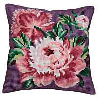 Cabbage Rose Printed Cross Stitch Cushion Kit by Collection D'Art..