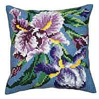 Purple Iris Printed Cross Stitch Cushion Kit by Collection D'Art..