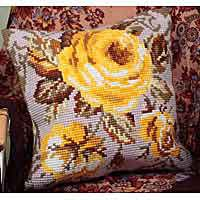 Antique Rose Printed Cross Stitch Cushion Kit by Collection D'Art..