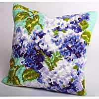 Double Lilac Cross Stitch Cushion Kit by Collection D'Art..