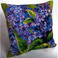 Single Lilac Cross Stitch Cushion Kit by Collection D'Art..