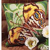 Mystery Butterfly Printed Cross Stitch Cushion Kit by Collection D'Art