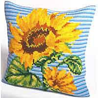 Sunflower Printed Cross Stitch Cushion Kit by Collection D'Art