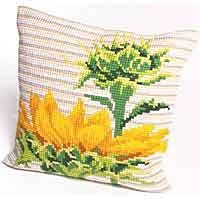 Afternoon Sunflower Printed Cross Stitch Cushion Kit by Collection D'Art