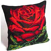 Damask Rose Printed Cross Stitch Cushion Kit by Collection D'Art