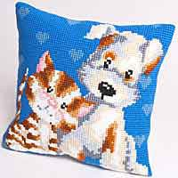 Friends Printed Cross Stitch Cushion Kit by Collection D'Art