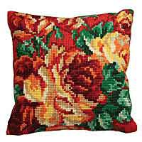 Rose Printed Cross Stitch Cushion Kit by Collection D'Art