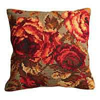 Rose Printed Cross Stitch Cushion Kit by Collection D'Art.