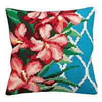 Hibiscus Printed Cross Stitch Cushion Kit by Collection D'Art