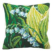 Lily of the Valley Printed Cross Stitch Cushion Kit by Collection D'Art.